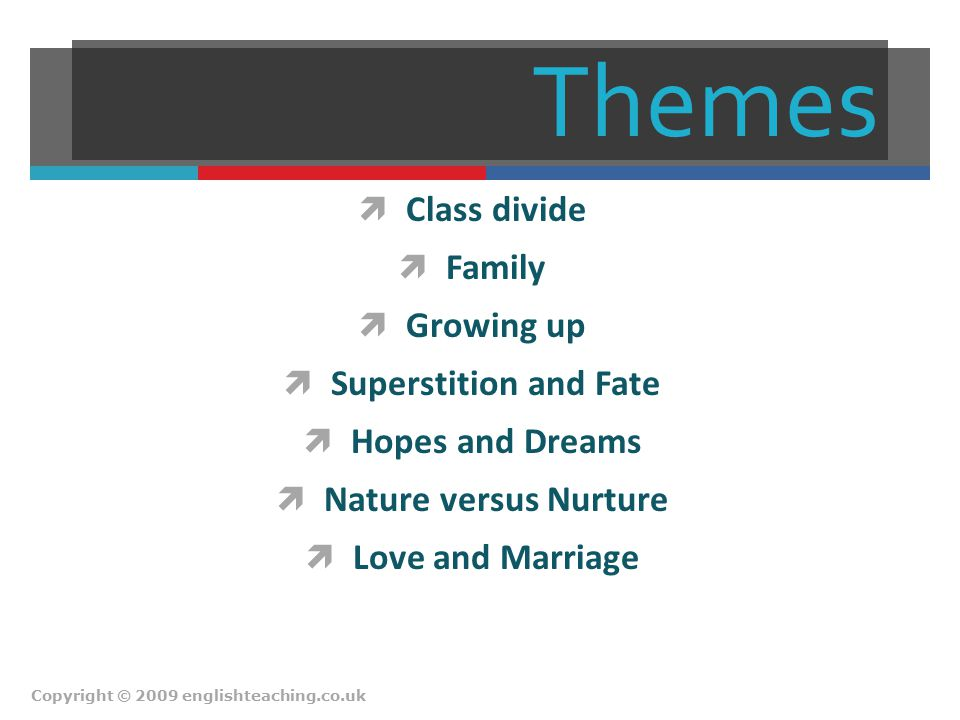 Themes  Class divide  Family  Growing up  Superstition and Fate  Hopes and Dreams  Nature versus Nurture  Love and Marriage Copyright © 2009 en