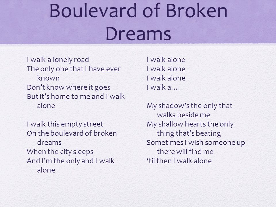 Boulevard of Broken Dreams I walk a lonely road The only one that I have ever known Don't know where it goes But it's home to me and I walk alone I wa
