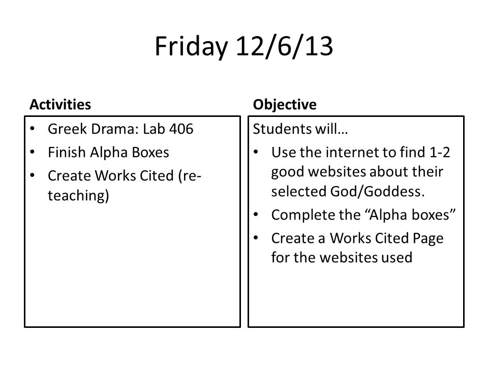 Friday 12/6/13 Activities Greek Drama: Lab 406 Finish Alpha Boxes Create Works Cited (re- teaching) Objective Students will… Use the internet to find 1-2 good websites about their selected God/Goddess.