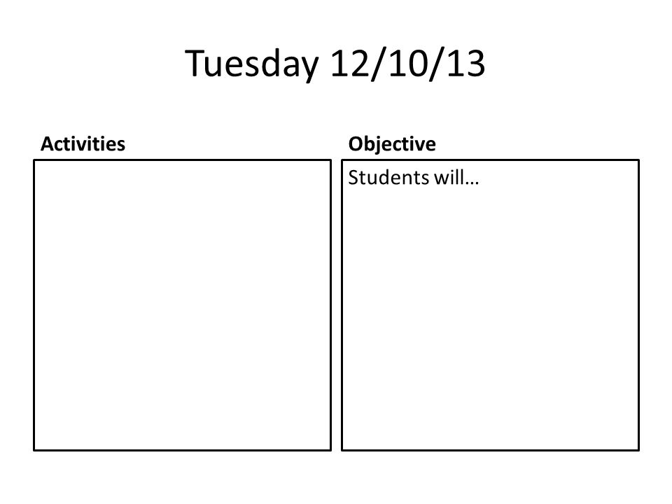 Tuesday 12/10/13 ActivitiesObjective Students will…