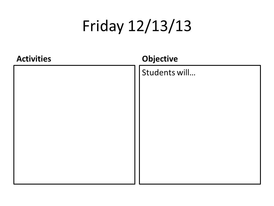 Friday 12/13/13 ActivitiesObjective Students will…