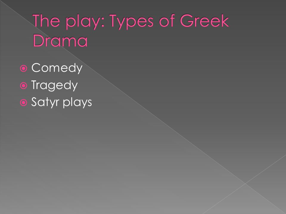  Comedy  Tragedy  Satyr plays