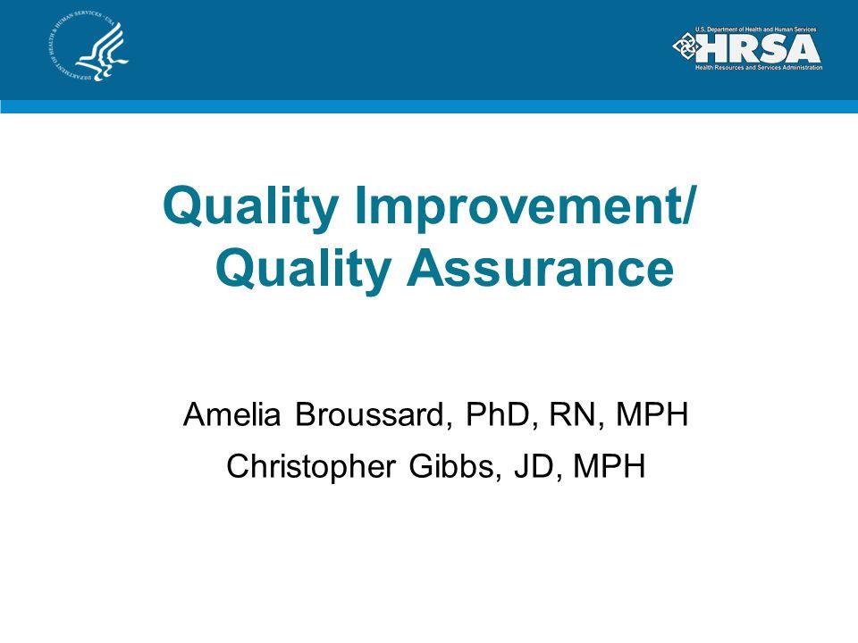 Quality Improvement/ Quality Assurance Amelia Broussard, PhD, RN, MPH Christopher Gibbs, JD, MPH