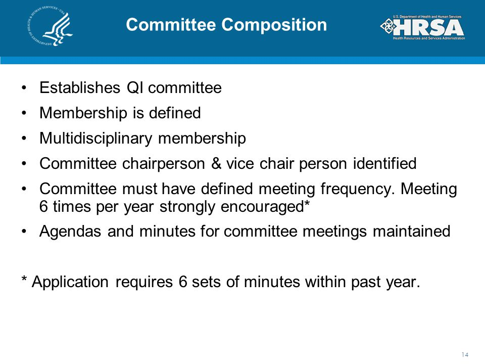 Committee Composition Establishes QI committee Membership is defined Multidisciplinary membership Committee chairperson & vice chair person identified Committee must have defined meeting frequency.