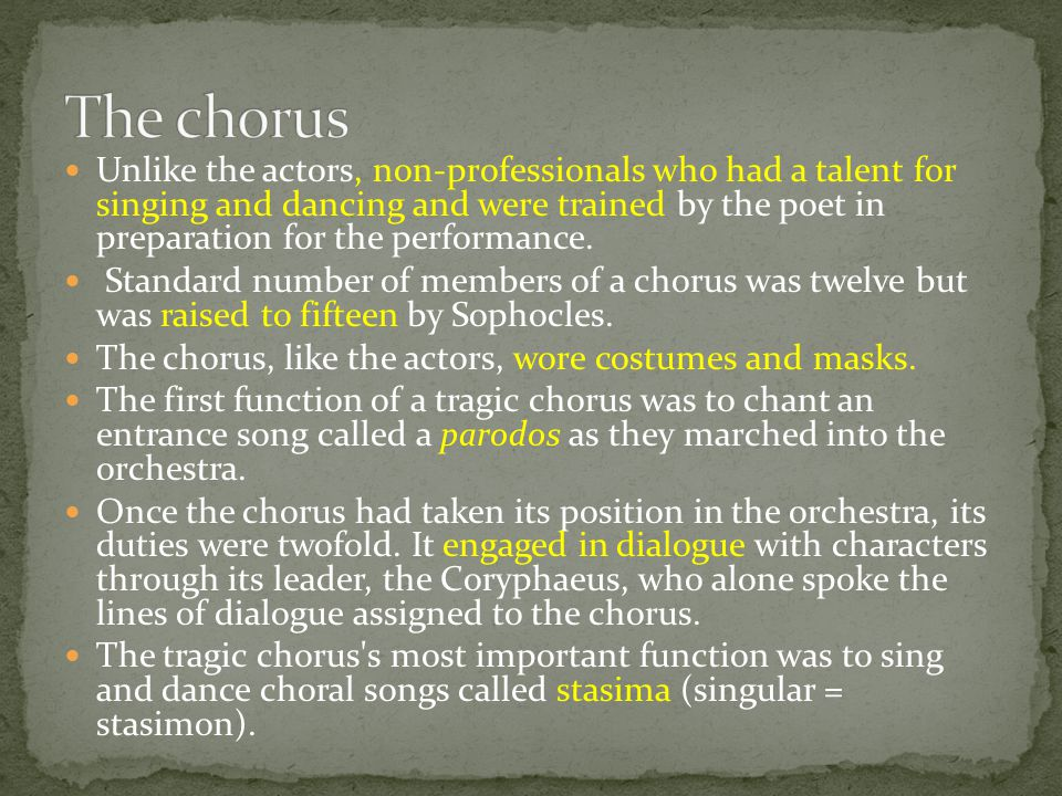 Unlike the actors, non-professionals who had a talent for singing and dancing and were trained by the poet in preparation for the performance. Standar