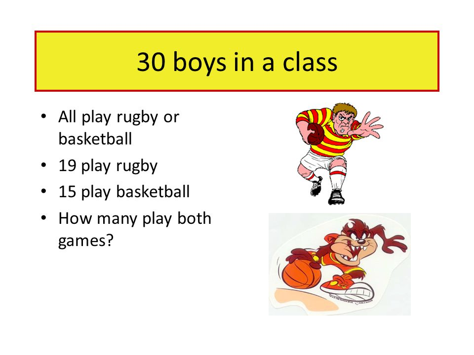 30 boys in a class All play rugby or basketball 19 play rugby 15 play basketball How many play both games?