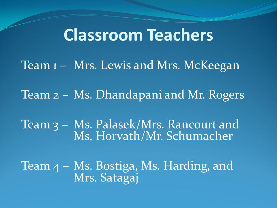 Classroom Teachers Team 1 –Mrs. Lewis and Mrs. McKeegan Team 2 –Ms.