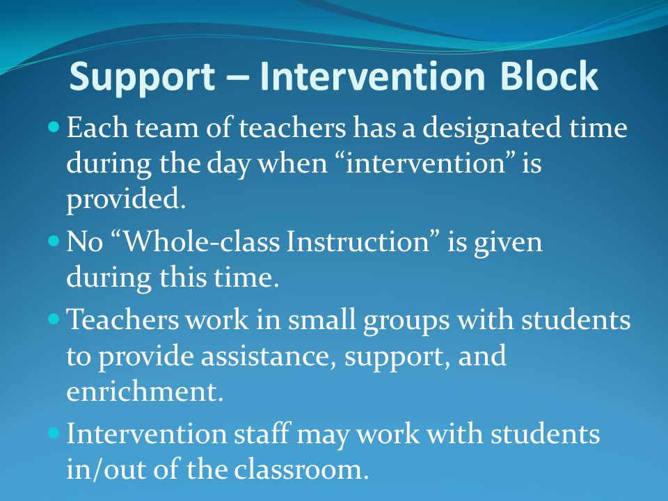 Support – Intervention Block Each team of teachers has a designated time during the day when intervention is provided.