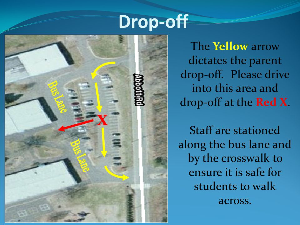 Drop-off The Yellow arrow dictates the parent drop-off. Please drive into this area and drop-off at the Red X. Staff are stationed along the bus lane