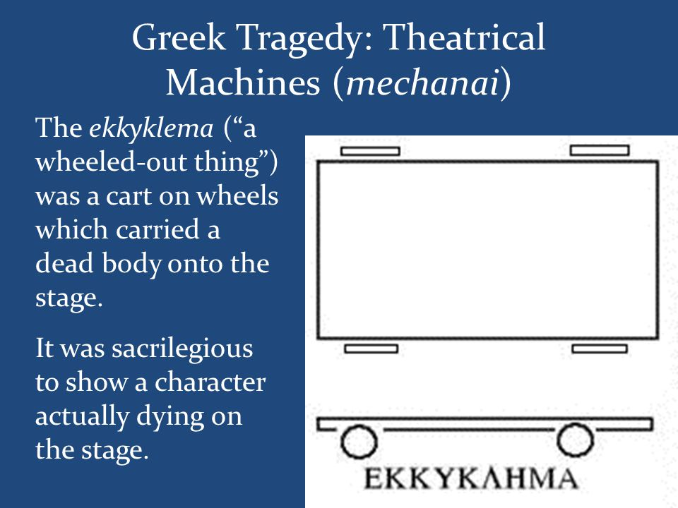 "Greek Tragedy: Theatrical Machines (mechanai) The ekkyklema (""a wheeled-out thing"") was a cart on wheels which carried a dead body onto the stage. It"