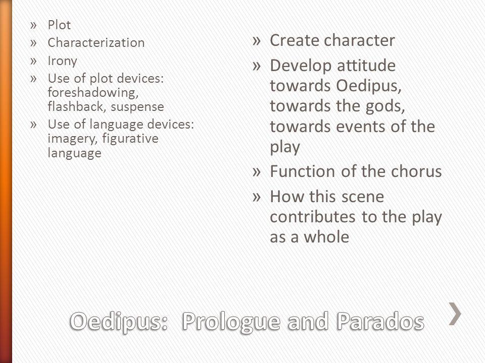 » Plot » Characterization » Irony » Use of plot devices: foreshadowing, flashback, suspense » Use of language devices: imagery, figurative language »