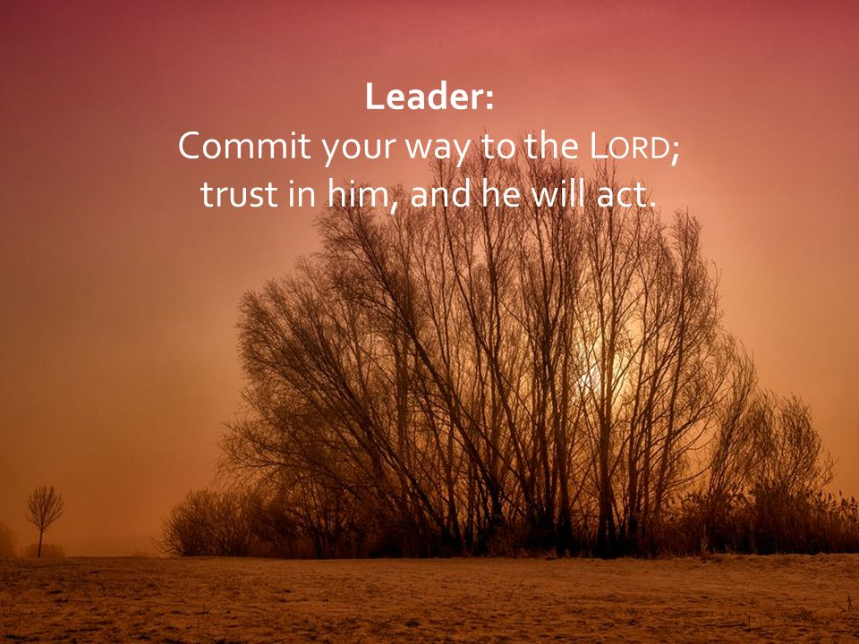 Leader: Commit your way to the L ORD ; trust in him, and he will act.