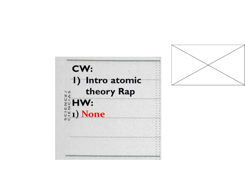 CW: 1)Intro atomic theory Rap HW: 1) None