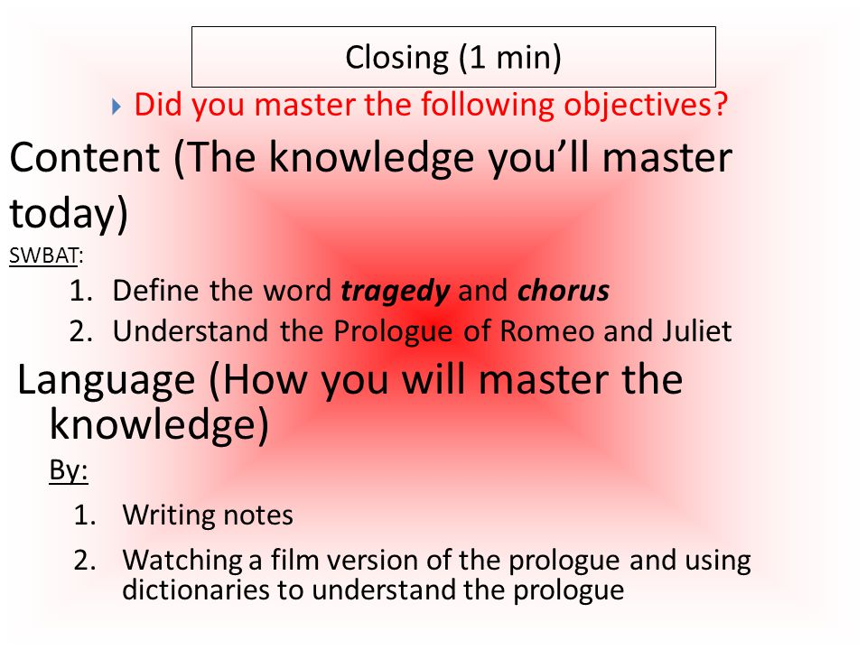 Closing (1 min) Content (The knowledge you'll master today) SWBAT: 1.Create rough draft classroom norms for 10 different situations 2.Create class-wide final-draft classroom norms for 10 different situations 3.Define the word norm and explain why it is important to have norms  Did you master the following objectives.