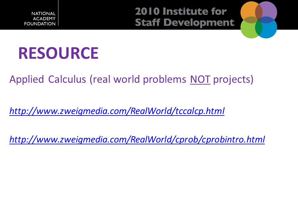 RESOURCE Applied Calculus (real world problems NOT projects) http://www.zweigmedia.com/RealWorld/tccalcp.html http://www.zweigmedia.com/RealWorld/cpro