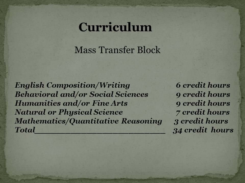 Curriculum Mass Transfer Block English Composition/Writing 6 credit hours Behavioral and/or Social Sciences 9 credit hours Humanities and/or Fine Arts