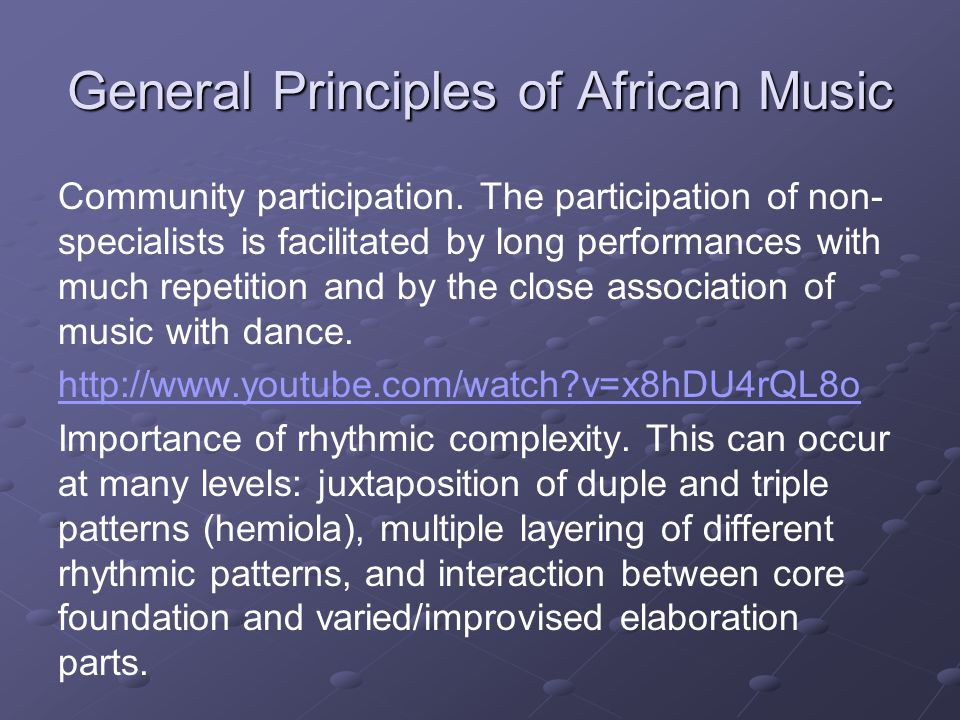 General Principles of African Music Community participation.