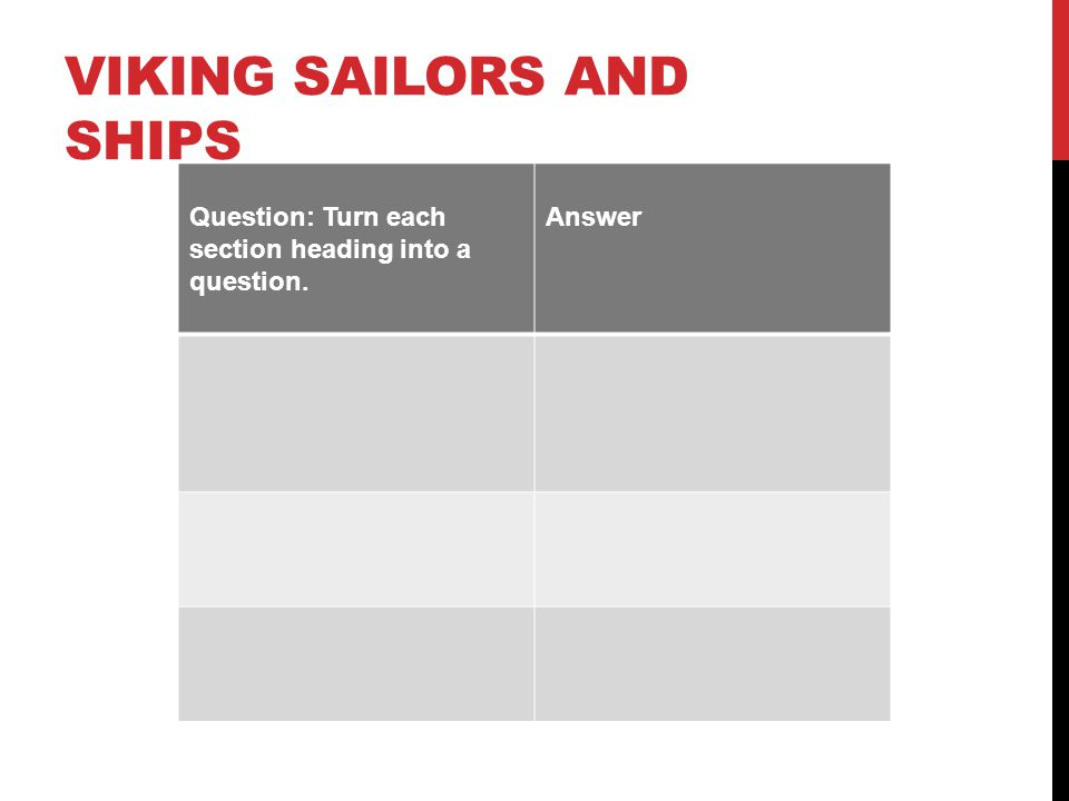 VIKING SAILORS AND SHIPS Question: Turn each section heading into a question. Answer