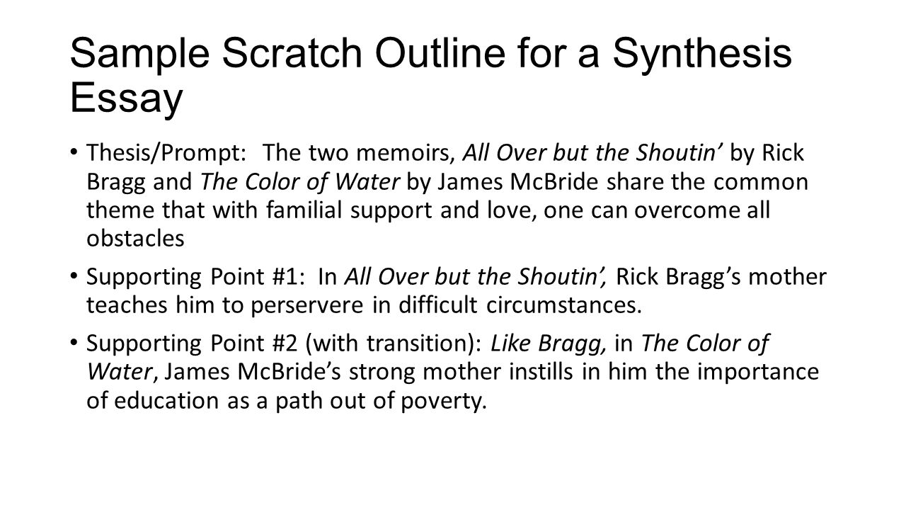Sample Scratch Outline for a Synthesis Essay Thesis/Prompt: The two memoirs, All Over but the Shoutin' by Rick Bragg and The Color of Water by James McBride share the common theme that with familial support and love, one can overcome all obstacles Supporting Point #1: In All Over but the Shoutin', Rick Bragg's mother teaches him to perservere in difficult circumstances.