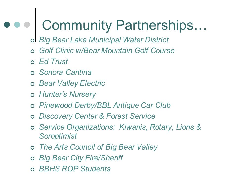 Community Partnerships… Big Bear Lake Municipal Water District Golf Clinic w/Bear Mountain Golf Course Ed Trust Sonora Cantina Bear Valley Electric Hu