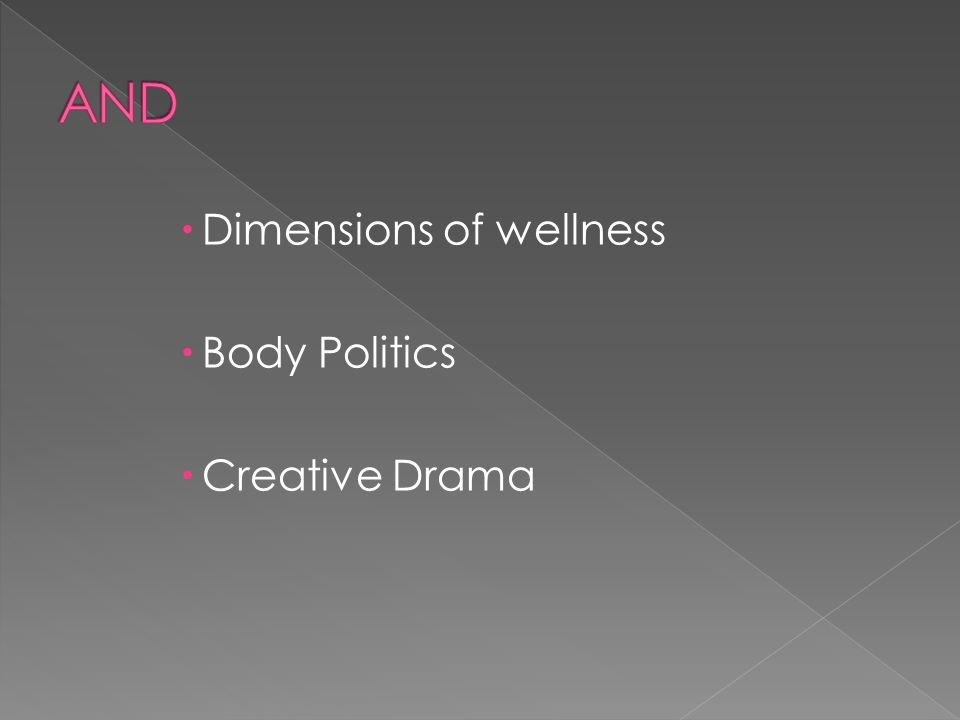  Dimensions of wellness  Body Politics  Creative Drama