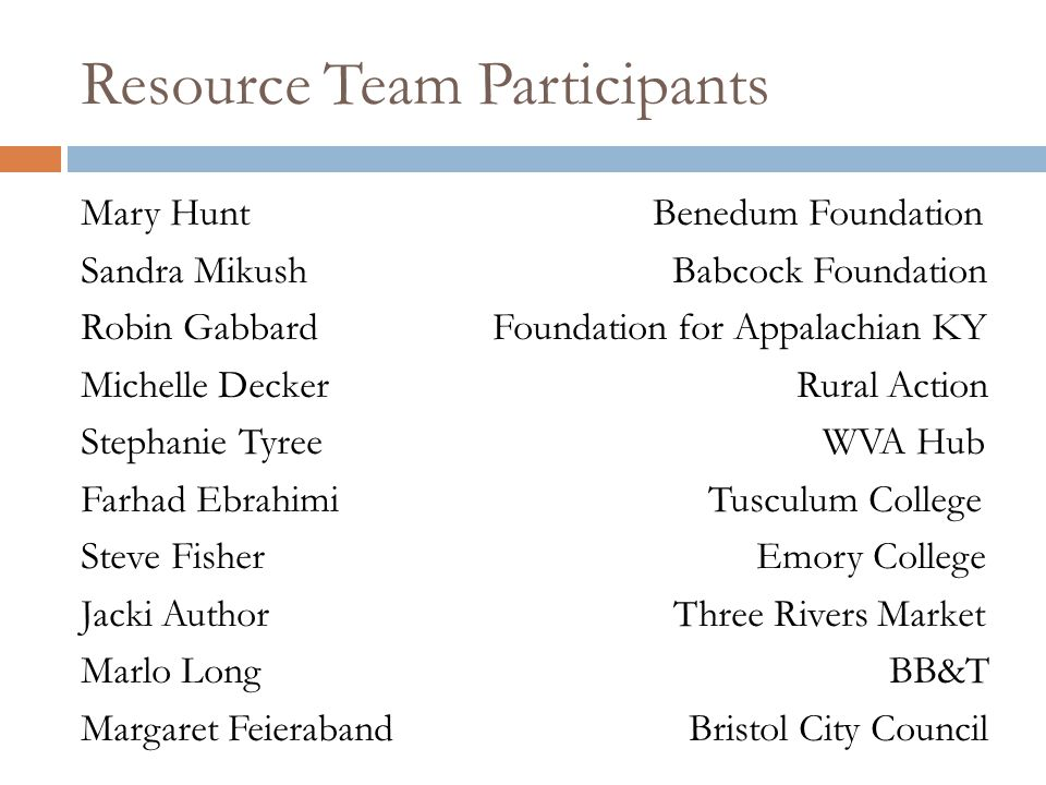 Resource Team Participants Mary Hunt Benedum Foundation Sandra Mikush Babcock Foundation Robin Gabbard Foundation for Appalachian KY Michelle Decker R