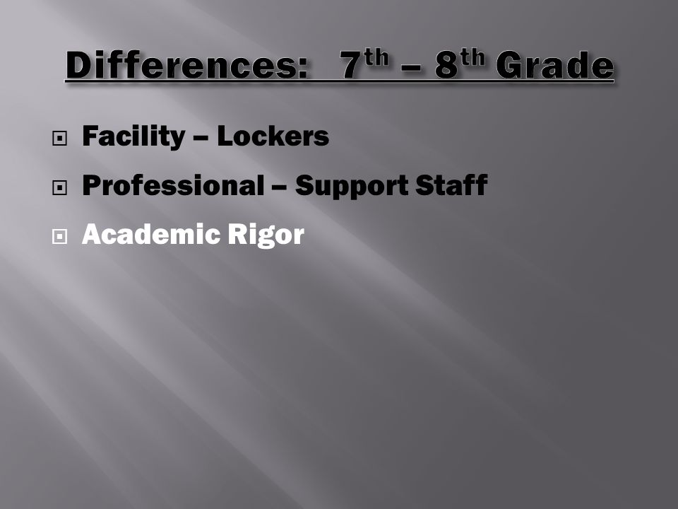  Facility – Lockers  Professional – Support Staff  Academic Rigor