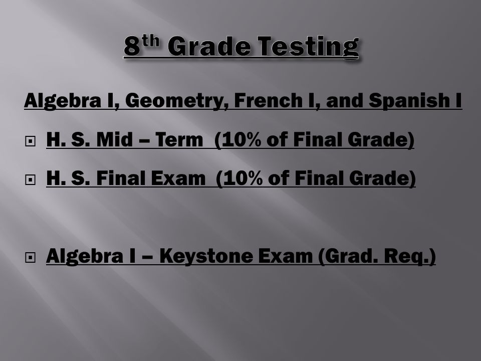 Algebra I, Geometry, French I, and Spanish I  H. S.