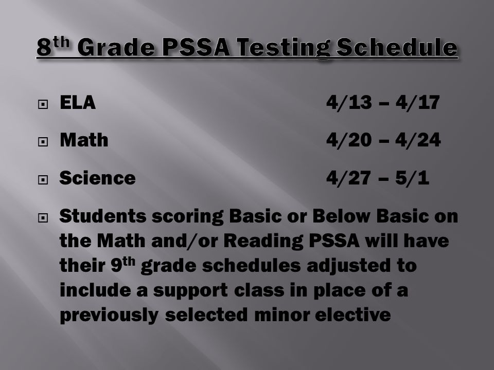  ELA4/13 – 4/17  Math4/20 – 4/24  Science4/27 – 5/1  Students scoring Basic or Below Basic on the Math and/or Reading PSSA will have their 9 th grade schedules adjusted to include a support class in place of a previously selected minor elective