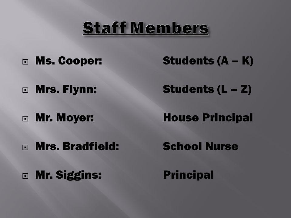  Ms. Cooper:Students (A – K)  Mrs. Flynn:Students (L – Z)  Mr.