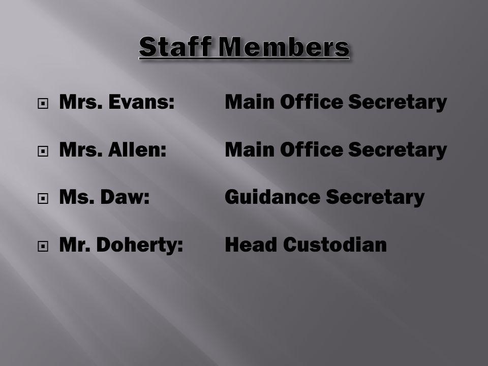  Mrs. Evans:Main Office Secretary  Mrs. Allen:Main Office Secretary  Ms.