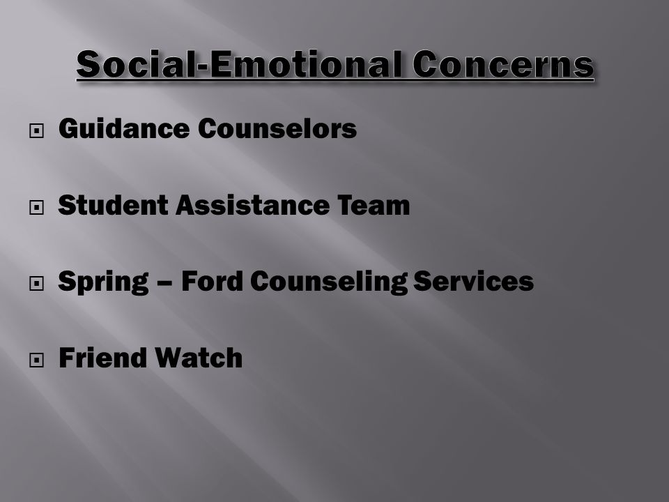  Guidance Counselors  Student Assistance Team  Spring – Ford Counseling Services  Friend Watch