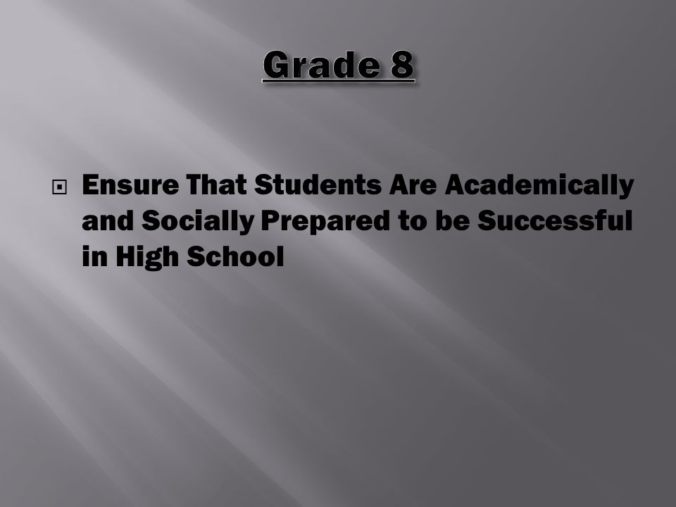  Ensure That Students Are Academically and Socially Prepared to be Successful in High School