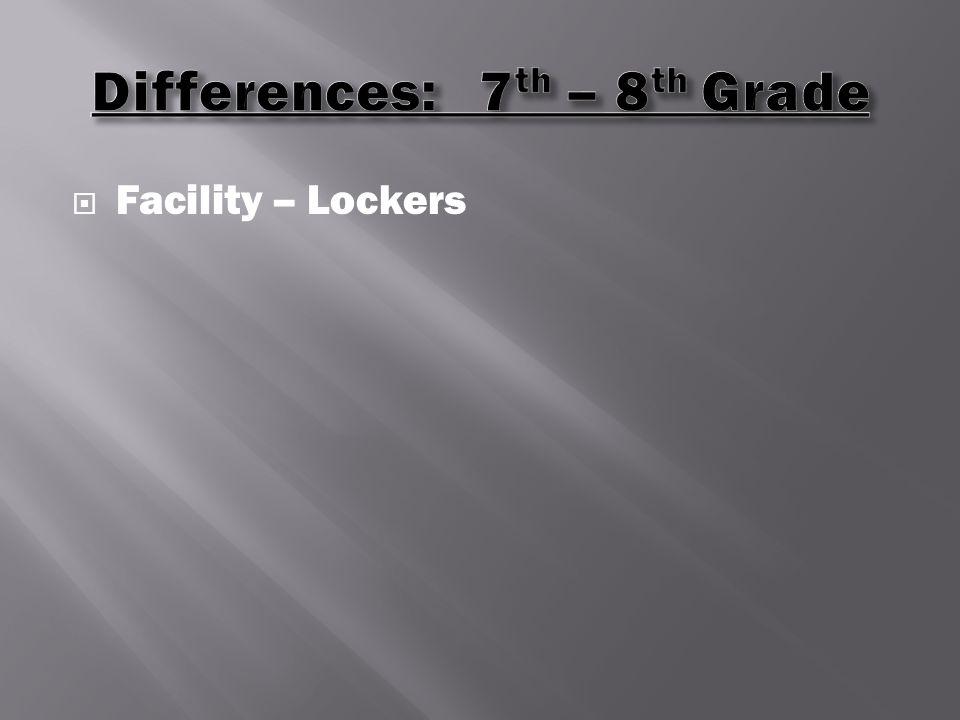  Facility – Lockers