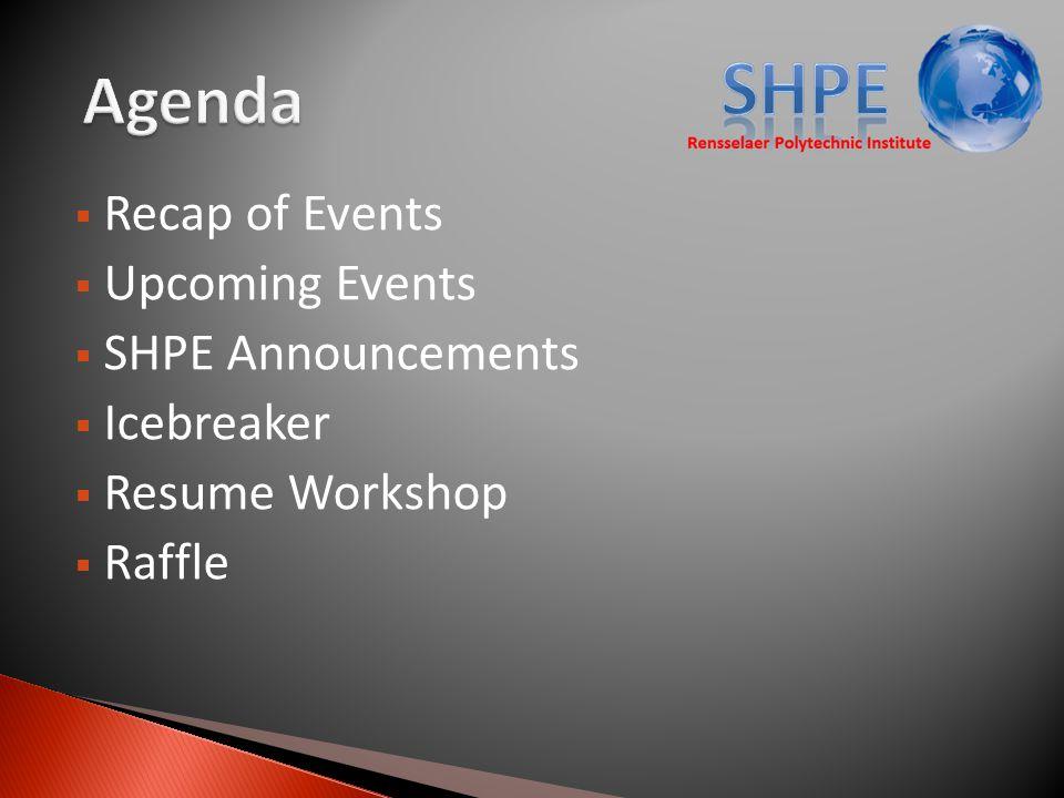  Recap of Events  Upcoming Events  SHPE Announcements  Icebreaker  Resume Workshop  Raffle