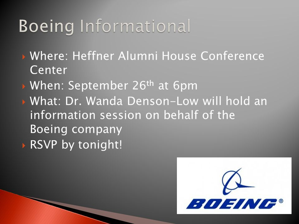  Where: Heffner Alumni House Conference Center  When: September 26 th at 6pm  What: Dr.