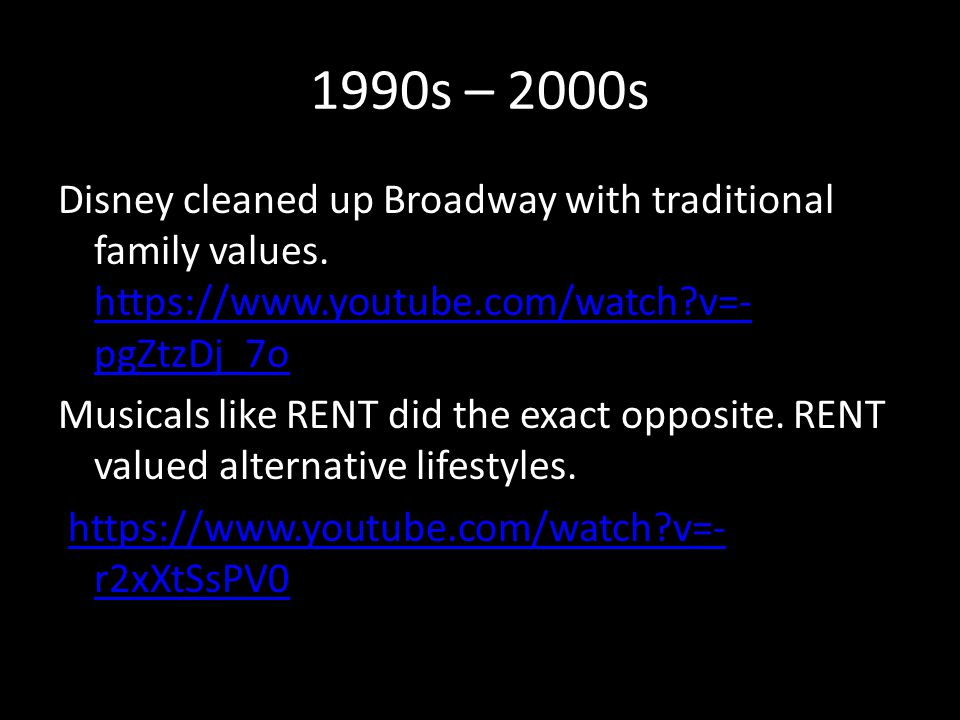 1990s – 2000s Disney cleaned up Broadway with traditional family values.