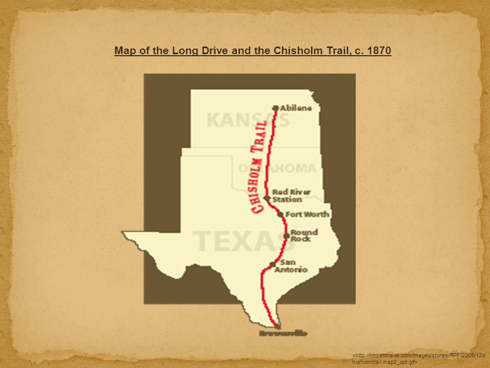 Map of the Long Drive and the Chisholm Trail, c. 1870
