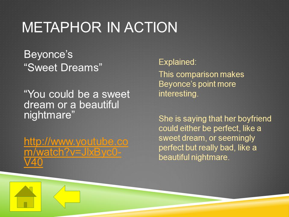 METAPHOR IN ACTION Beyonce's Sweet Dreams You could be a sweet dream or a beautiful nightmare http://www.youtube.co m/watch v=JlxByc0- V40 Explained: This comparison makes Beyonce's point more interesting.
