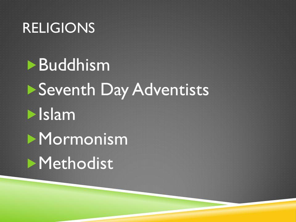 RELIGIONS  Buddhism  Seventh Day Adventists  Islam  Mormonism  Methodist