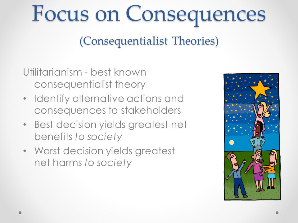 Focus on Consequences (Consequentialist Theories) Utilitarianism - best known consequentialist theory Identify alternative actions and consequences to