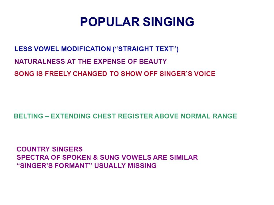 """POPULAR SINGING LESS VOWEL MODIFICATION (""""STRAIGHT TEXT"""") NATURALNESS AT THE EXPENSE OF BEAUTY SONG IS FREELY CHANGED TO SHOW OFF SINGER'S VOICE BELTI"""