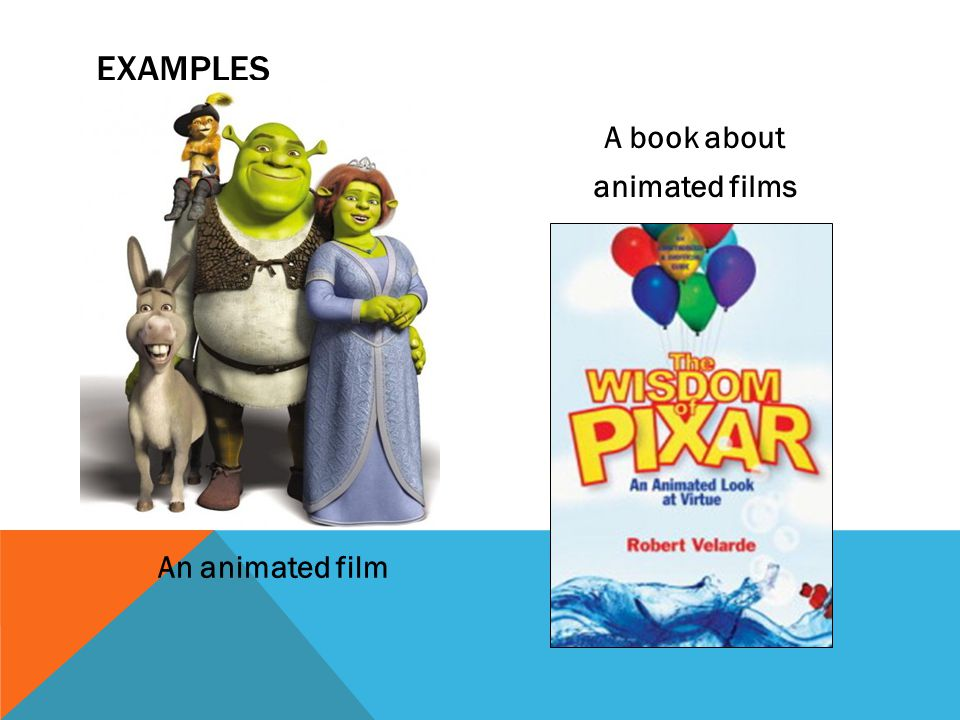 An animated film A book about animated films EXAMPLES