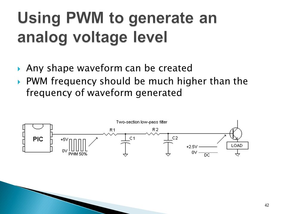  Any shape waveform can be created  PWM frequency should be much higher than the frequency of waveform generated 42