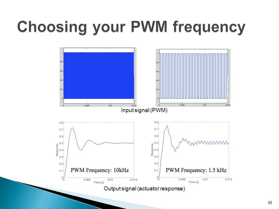 50 Output signal (actuator response) Input signal (PWM)