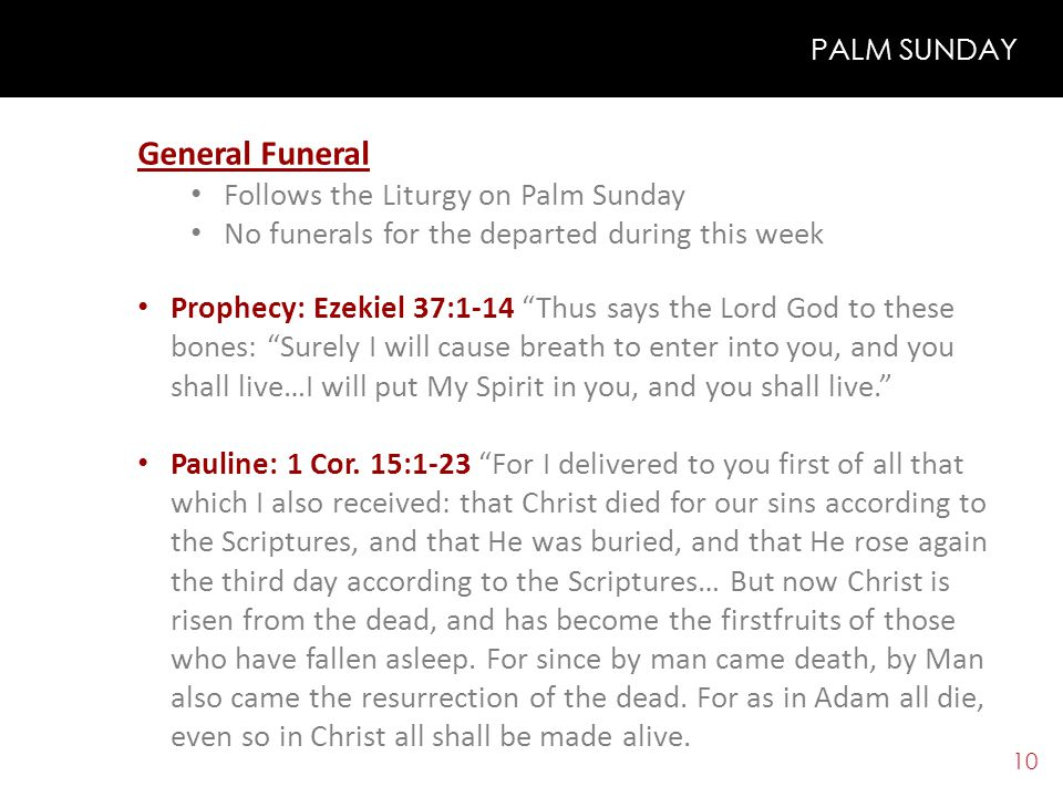 9 PALM SUNDAY Listen carefully to the Gospel according to St.