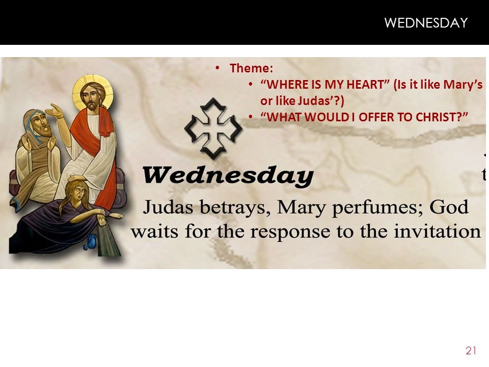 20 TUESDAY What Does the Church Do? – Very Important: THE ELEVENTH HOUR CHRIST l Talked in detail about judgment and the last day l Determined the tim