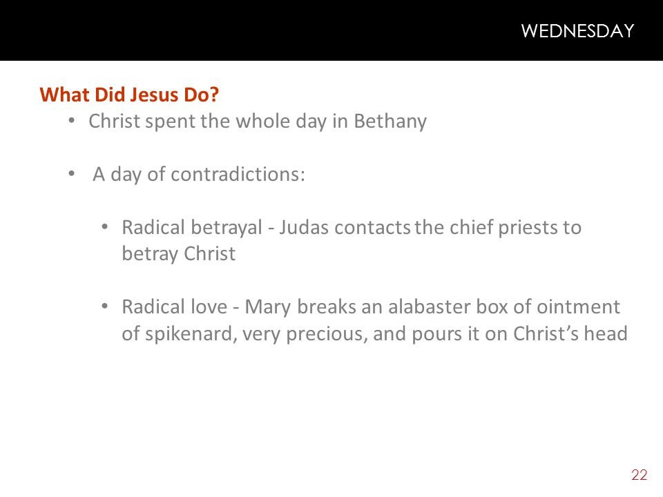 21 WEDNESDAY Theme: WHERE IS MY HEART (Is it like Mary's or like Judas'?) WHAT WOULD I OFFER TO CHRIST?