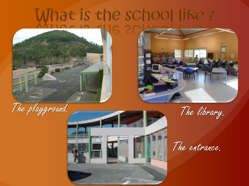 The playground. The library. The entrance.