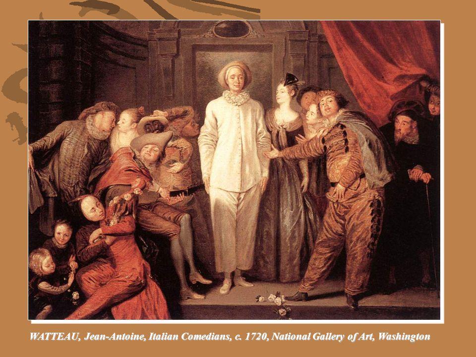 Jean-Antoine Watteau.Arlequin, Pierrot and Scapin.
